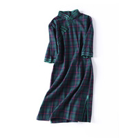 Traditional Chinese Dress Women Dress Half Sleeve Modern Plaid Cheongsam Oriental Qipao Vintage Robe Handmade Women