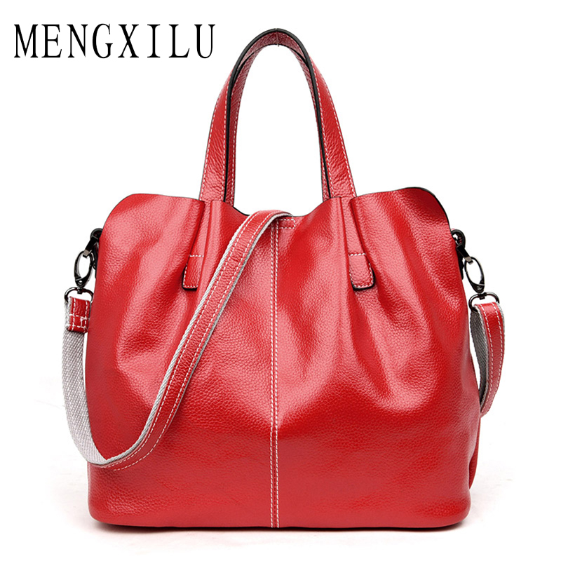 MENGXILU New Genuine Leather Women Handbags Ladies Purse Bolsa Feminina Large Shoulder Crossbody Tote Bags Women Messenger Bag chispaulo 2017 women genuine leather handbags cowhide women s messenger shoulder bags crossbody bolsa femininas tassel new c137
