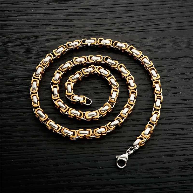 AZIZ BEKKAOUI złoto naszyjniki ze stali nierdzewnej wąż Curb Link łańcuchy mężczyźni naszyjnik DIY srebrny Choker biżuteria akcesoria 56cm