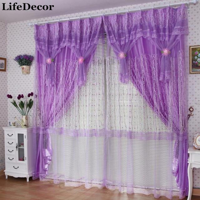 Amazing Small Rose Quality Finished Production Lace Curtain Romantic Purple Bedroom  Window Curtains