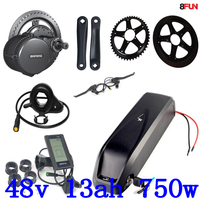 BBS02B BBS02 Bafang 48V 750W mid drive electric motor kit+48V 13Ah electric bicycle Lithium ion Battery for 48V 500W 750W motor