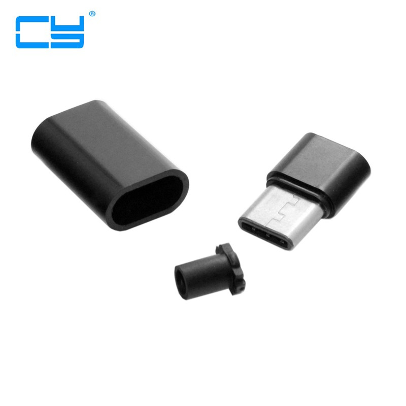 20set DIY 24pin USB 3.1 Type C USB-C Male Plug Connector SMT type with Black Housing Cover diy 24pin usb c usb 3 1 type c male