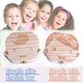 Зуб Организатор Коробка Для Ребенка Экономии Молочные Зубы Английский Испанский Ящик Для Хранения древесины Большие Подарки Творческий Для Детей Мальчик Девочка рождество
