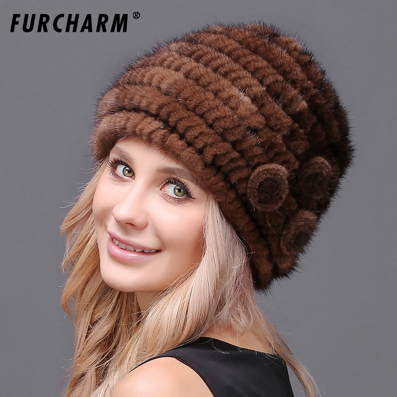 63a9e35f85 Real Mink Fur Hat Cap With Flower Decoration Hats For Women Brand Warm  Female Cap Winter Knitted Mink Fur Beanies Caps