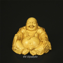 5CM Religion Lucky Maitreya Figurines Laugh Buddha Statues for Decoration Carved Wood Carved Home Decoration Art & Collectible