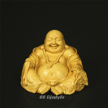 Religion lucky Maitreya Figurines Gold Buddha statues for decoration Carved wood carved Home Decoration Art & Collectible