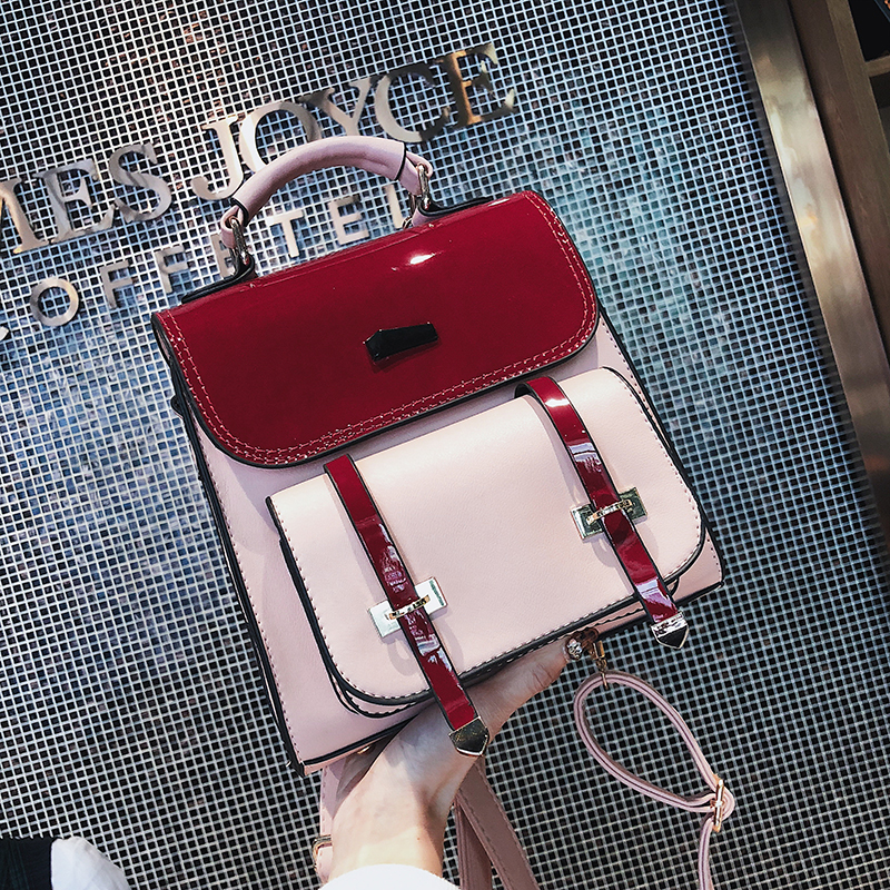 Fashion Women Backpack 2018 Fashion New Women's Designer Backpacks High quality PU leather hit color shoulder bag Travel Bag