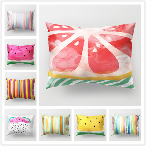 New Design Candy Color Pillow Case Home Bed Fruit Printing Pillowcases for Children Rect ...