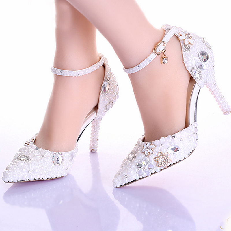 Online Shop New Rhinestone Pearl Wedding Dress Shoes Pointed Toe ...