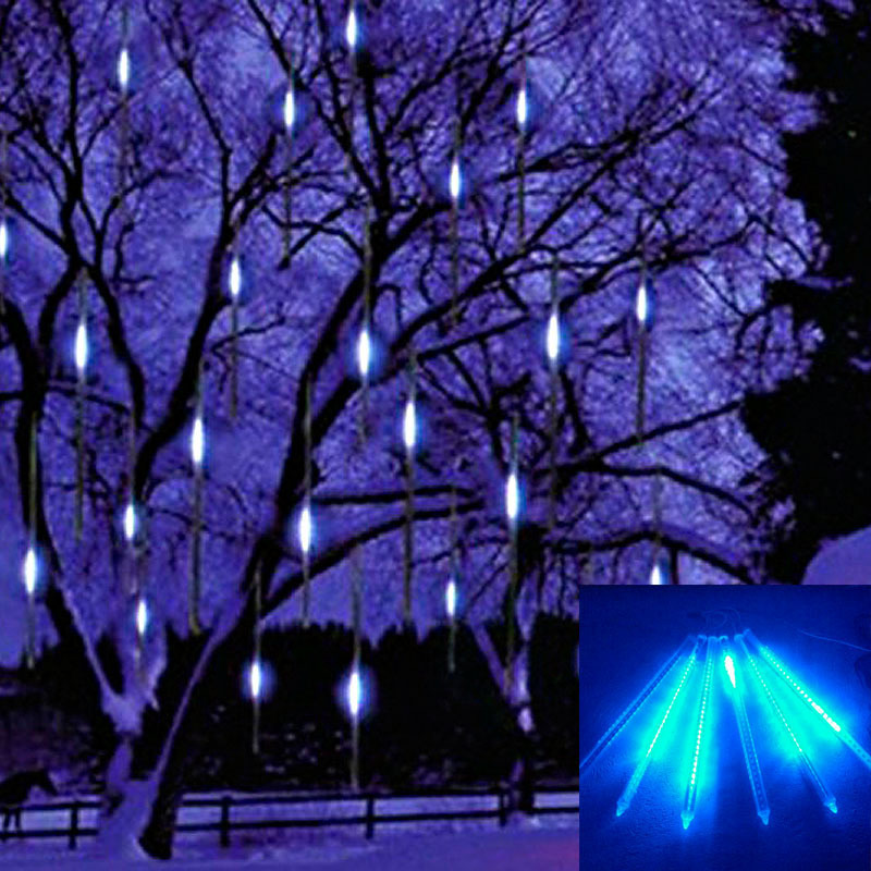 Captivating Hang LED Snowfall Meteor Rain Tube Light Christmas Wedding Blue Outdoor Tree  Garden Decoration Night Bright Beautifying Holiday In Holiday Lighting From  ... Great Ideas