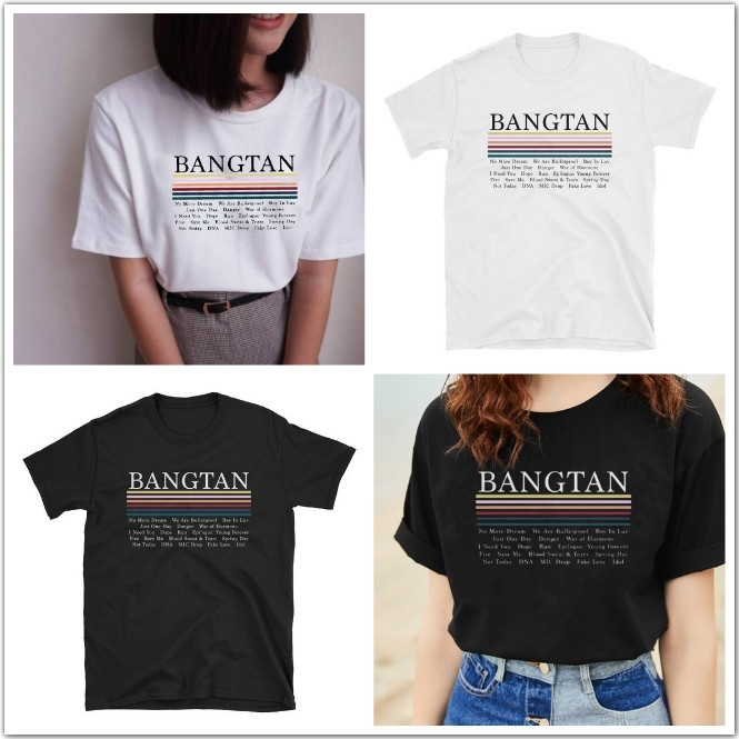 Hahahyule-WW  Black and White NO MORE DREAM K-POP BTS Bangtan Boys Wristband Graphic Tee Casual Black Tops  Friendship Gift 2