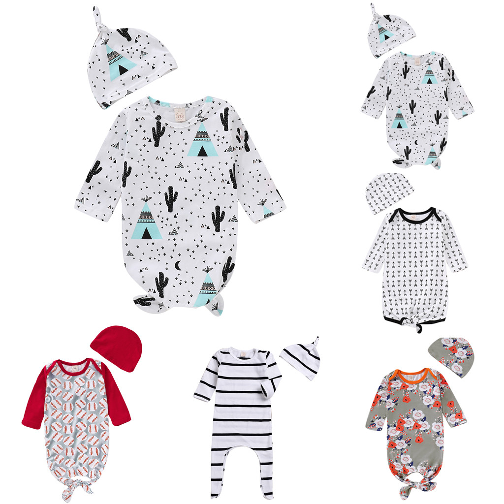 Striped Hat /… Newborn Baby Girl Floral Sleeping Gown,Swaddle Sack Coming Home Outfit Sleepwear Romper Sleeping Bags Clothes