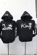 Sudaderas Para parejas с длинным рукавом Король Королева Корона пуловер с принтом толстовки пары любителей толстовка мужчин для женщин; Большие размеры с капюшоном