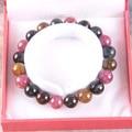 """Frete grátis belas jóias estiramento Multi - cor 8 MM rodada Beads 100% Natural A turmalina pulseira 7 """" com caixa 1 Pcs J001"""