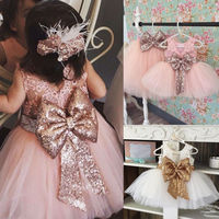 Baby Girls Ball Gown Dresses Bridesmaid Formal Clothing Kids Baby Girl Sequins Boknot Dress Cute Christmas
