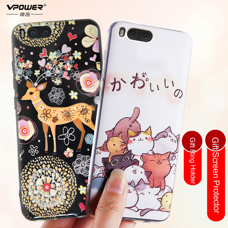 Xiaomi mi6 Case mi 6 Cover Vpower 3D Stereo Relief Painted luxury soft tpu cartoon