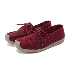 summer  women genuine leather shoes woman Hand-sewn suede leather flats cowhide tassel boat shoes women loafer Empty thread z122