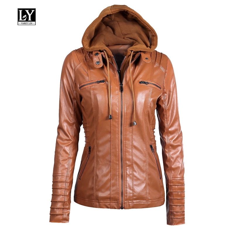 Ly Varey Lin 2019 New Women Hooded Faux   Leather   Jacket Slim Motorcycle Plus Size 5xl Lady Hat Detachable Jacket Outerwear