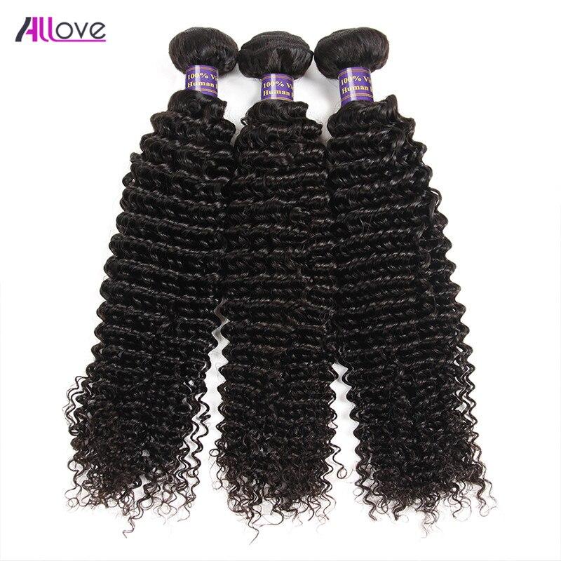 Allove brasilianska Curly Hair Bundles 100% Remy Human Hair Weaving 3 - Mänskligt hår (svart)