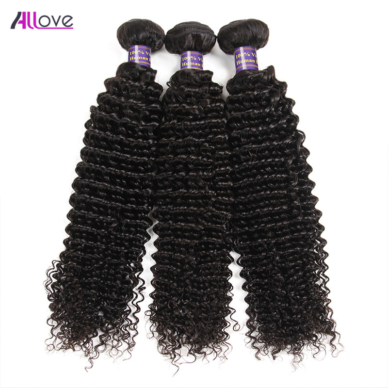 Allove Brazilian Curly Hair Bundles 100% Remy Human Hair Weaving 3 Bundles 8-28inch Hair Extensions Natural Color Weft No Tangle