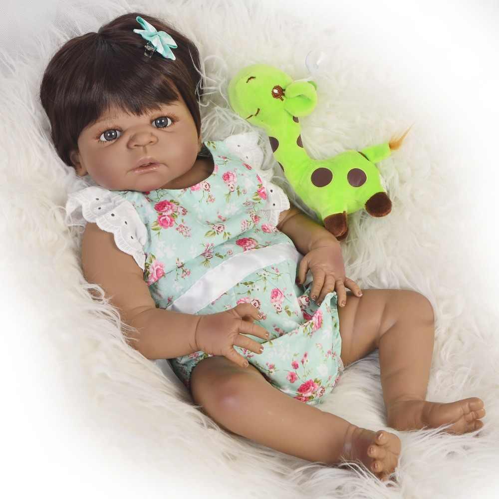 """Черная кукла Bebes reborn 23 """"57 см полный Силиконовый reborn baby doll настоящий ребенок Африканский Американский игрушки для принцессы для детского подарка"""