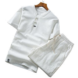 Для мужчин с короткими рукавами комплект из 2 частей Китайский Стиль большой Размеры 5XL Летняя мода Повседневное Для мужчин S Костюмы