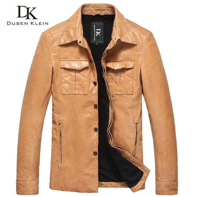 Dusen klein 2017 diseñador de moda de lujo para hombre abrigos de cuero genunie piel de oveja delgado negro/orange dk102 chaqueta
