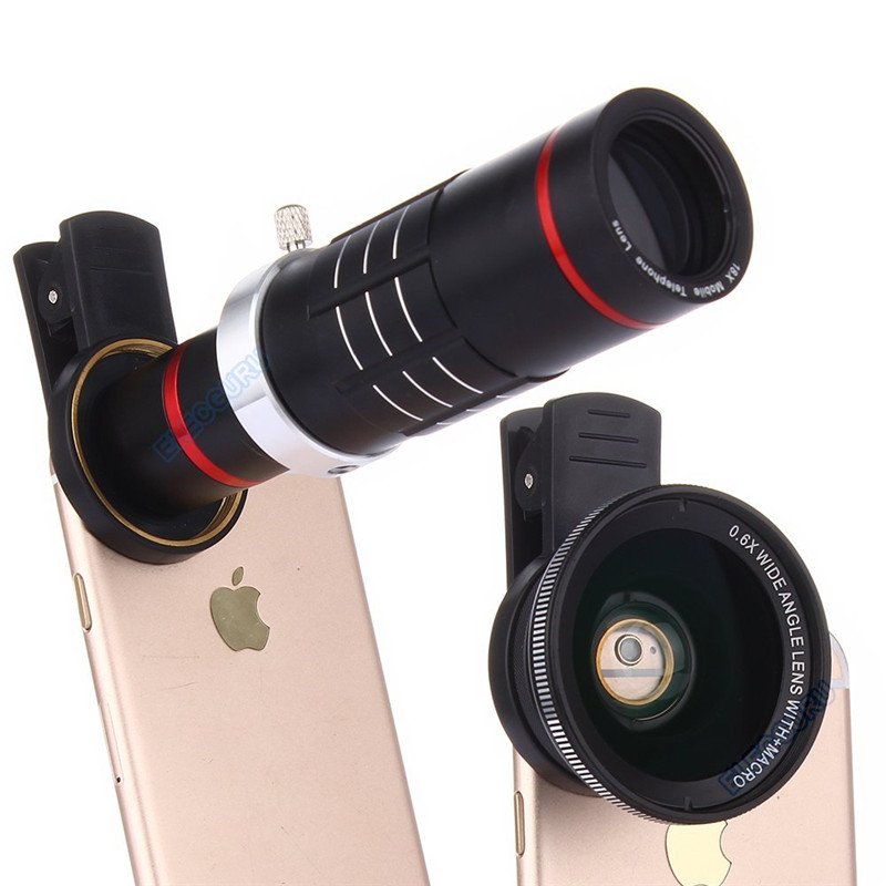 Kit universel d'objectif de caméra télescope Zoom optique HD 18x pour Iphone 7 6 S 0.6X grand Angle 15X objectif Macro pour Samsung S8 S7 edge