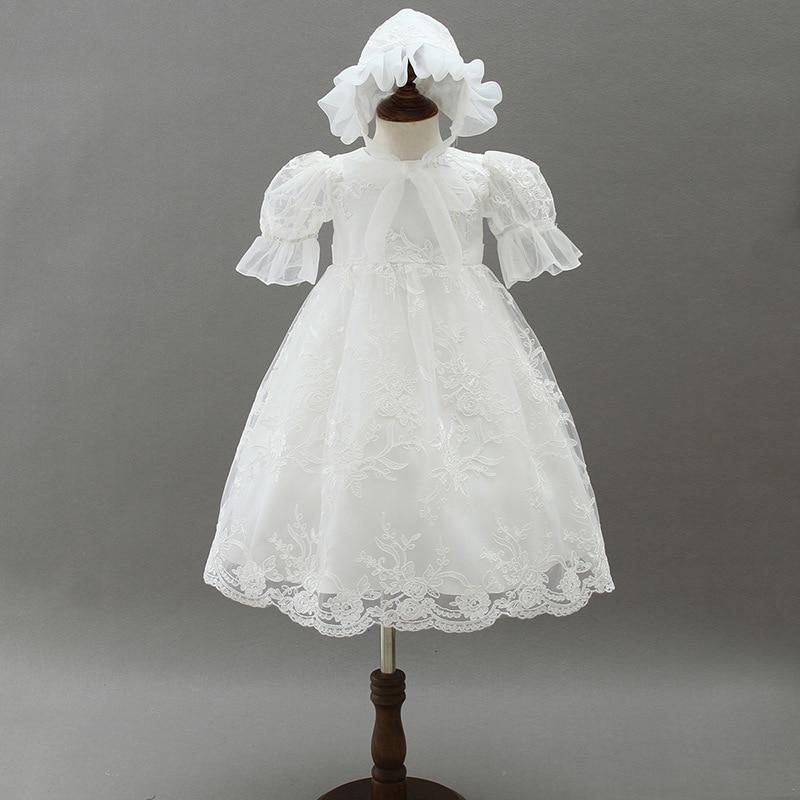 BBWOWLIN bébé fille vêtements d'été ensemble blanc longue robe de baptême et chapeau pour 0-2 T bambin vêtements anniversaire 9035