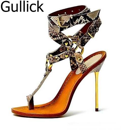 Hot Sale Women Sexy Snakeskin T-bar Sandals Summer Hollow Out Ankle Buckle Strap Shoes Fashion Gold Metal Thin Heel Shoes chic metal bar and hollow out leg design black sunglasses for women
