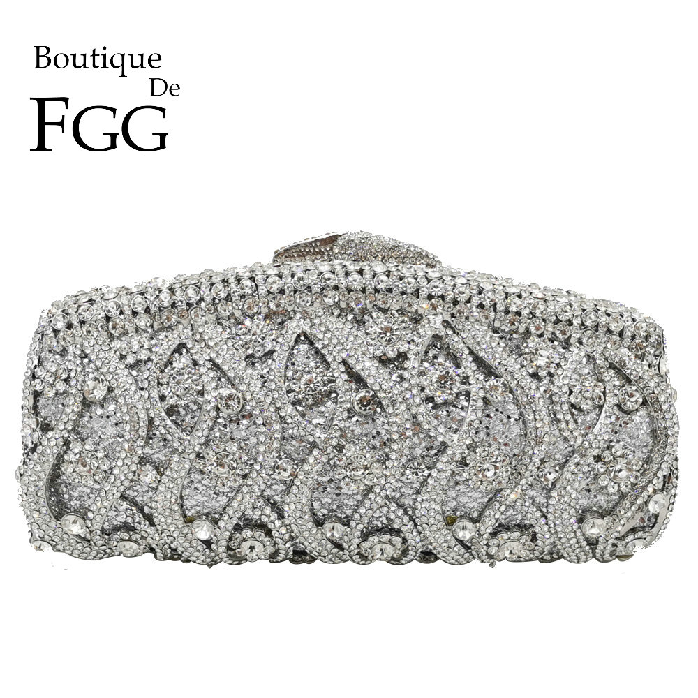 Boutique De FGG Hollow Out Crystal Women Clutches Evening Bags Wedding Party Cocktail Metal Minaudiere Diamond Handbag And Purse