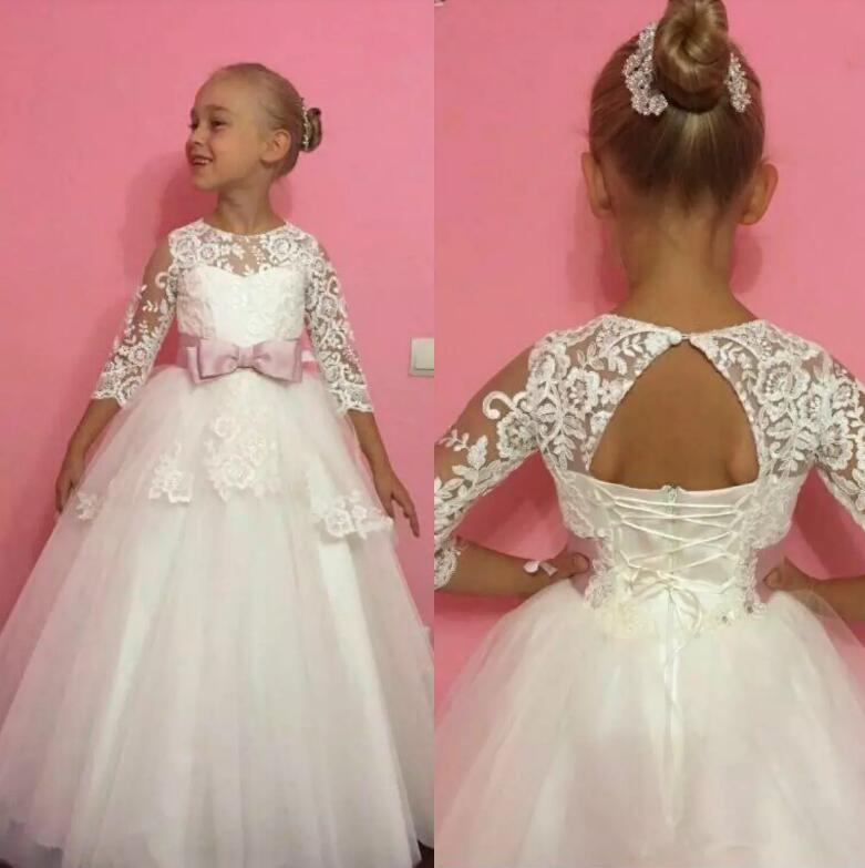 Lace Appliqued Flower Girls Dresses for Weddings Jewel Neckline Three Sleeves Hollow Back Dress Communion Gown fashionable sweetheart neckline sleeveless lace spliced dress for women