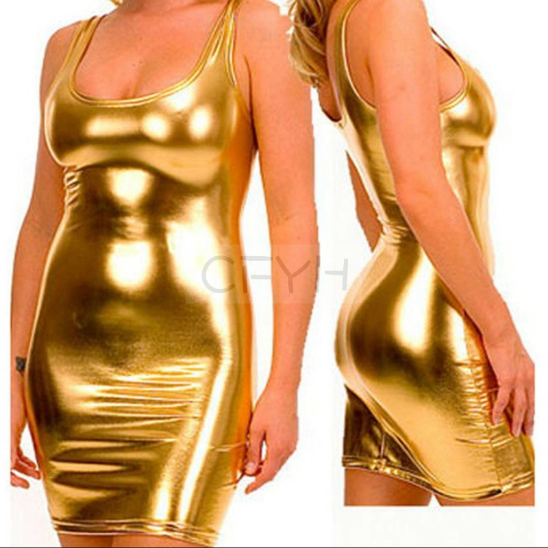 Женские кожаные платья CFYH, сексуальные Клубные костюмы из ПВХ большого размера, S-5XL, 2020