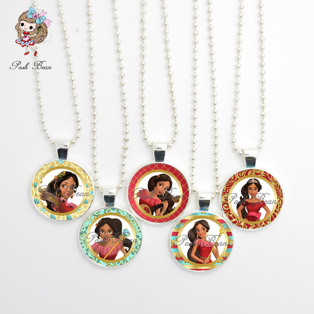 Elena Of Avalor Figures Necklace Handmade Girl Jewelry Glass Cabochon Party Favors Cute Birthday Gift