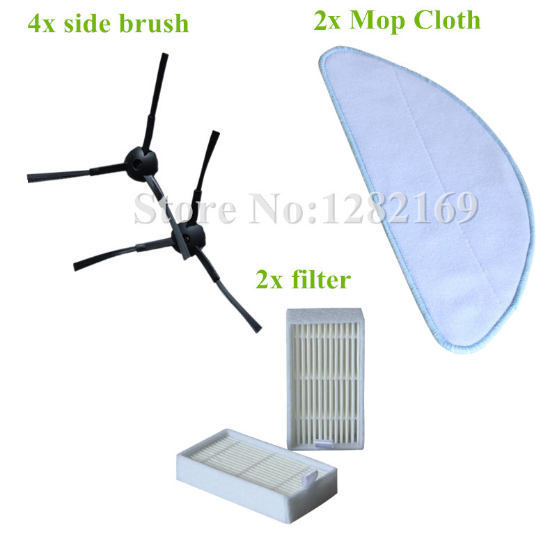 4x Side Brush + 2x Robto Cleaner Hepa Filter + 2x Mop Cloth for chuwi ilife V3 V3+ V5 (CW310) V5 PRO Replacement parts