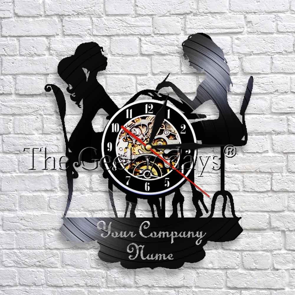 Custom Wall Clock Salon Company Name Vinyl Record Wall Clock Modern Design Personality Wall Decor For Beauty Nail Salon