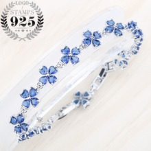 A Bracelet For Women Blue Zircon Stones Silver 925 Jewelry Lucky Four-leaf Clover Jewelry Free shipping and Free Gift Box