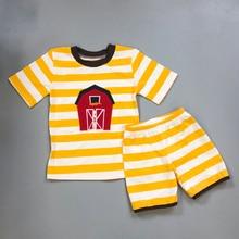 9455c6342421 Del bambino Vestiti Del Ragazzo Set CONICE NINI Nuovo Disegno Cavallo Del  Ricamo pantaloncini A Righe t-shirt top vestiti del ba.