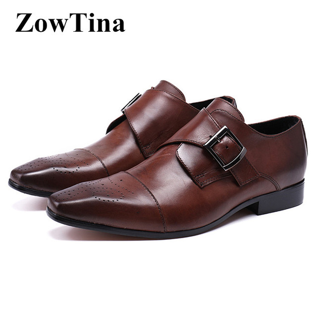 Brown Genuine Leather Men Oxford Shoes Vintage Design Square Toe Moccasin Homme  Shoes Man Large Size 46 Buckle Sapato Masculino 3bad708b517c