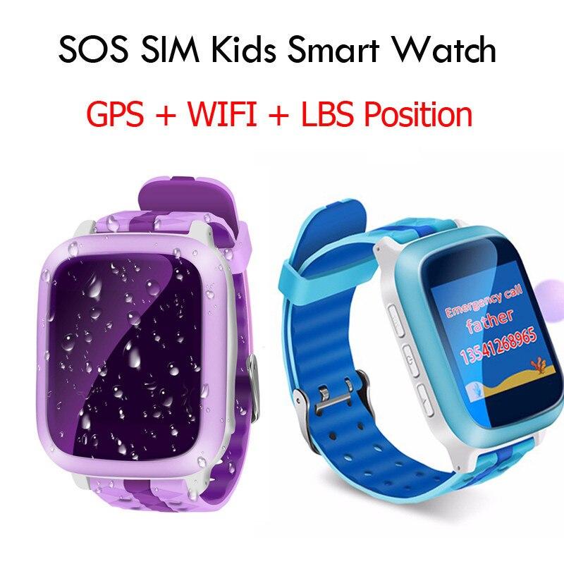 Imperméable à l'eau Piscine Sport Enfants Montre Smart Watch GPS Emplacement Tracker Enfant Soins de Santé de Remise En Forme Intelligente Bracelet Soutien SIM Carte 2G