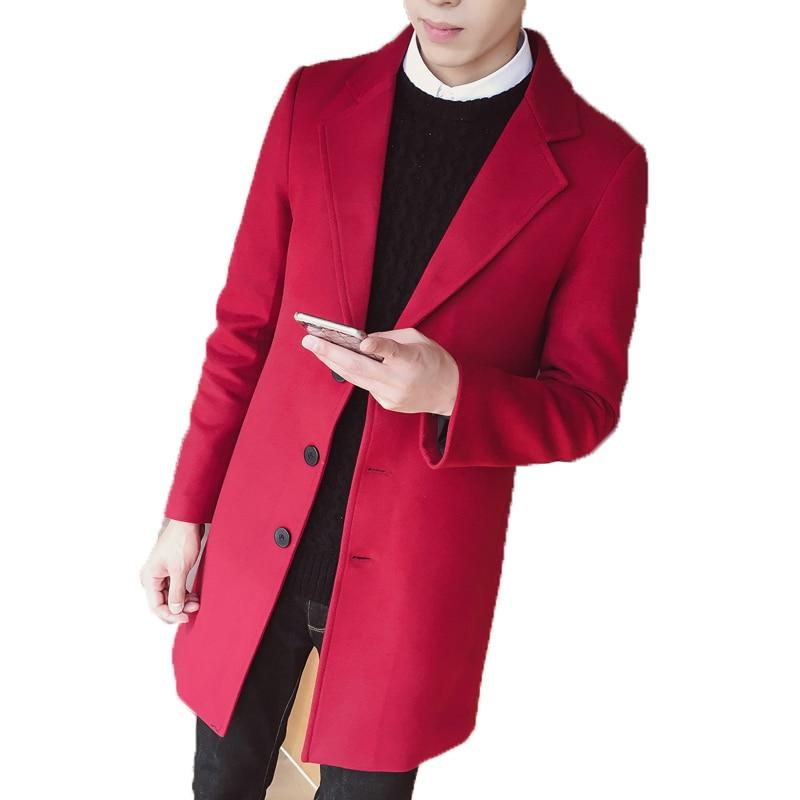 best authentic d8c13 d968d US $32.03 11% OFF|Loldeal 2018 Neue Mode Lange Graben Coatc reamy weiß Rot  wein Männer Winter Herren Mantel Wolle Dicken Graben Mantel männlichen ...