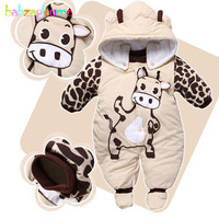 0 9Months Autumn Winter Baby Girls Boys Rompers Cartoon Cute Thick Warm Hooded Jumpsuits Newborn Clothes