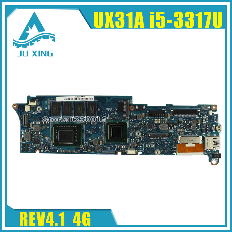 UX31A For ASUS Laptop Motherboard UX31A2 REV4.1 2.0 Mainboard with Intel Core i5 3317U 4GB Fully Tested 60 days warranty cheap price intel 945 lga775 socket motherboard with intel pentium 4 ps2 chip isa ddr2 core 2 duo 945gv micro atx mainboard