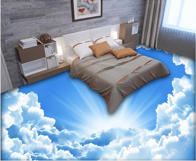 Custom 3d Flooring Waterproof Wallpaper For Bathroom Blue Sky And White  Clouds 3d Floor Self Adhesive