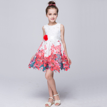 Girls Lace Dresses Summer 2016 High Quality Floral Flower Girl Dresses For Party And Wedding Princess Rose Dress Age10 8 12Years