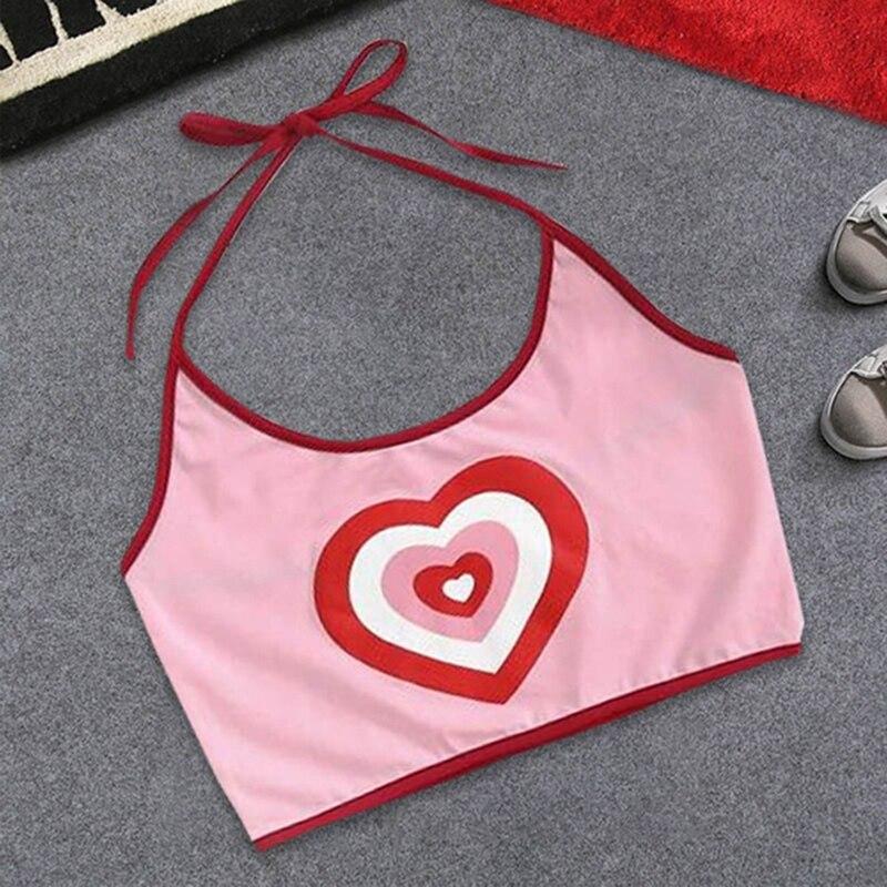2018 Summer New Pink Love Heart Print Slim Tight Spaghetti Strap Halter Backless Camis Crop Tops Fashion Ladies Short Camis Tee