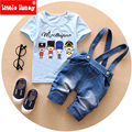 2016 New Baby Boy Summer Clothes Korean Style Toddler Boys Clothing Set Cartoon Suspender Jeans Denim Pants Suits For Boys T547
