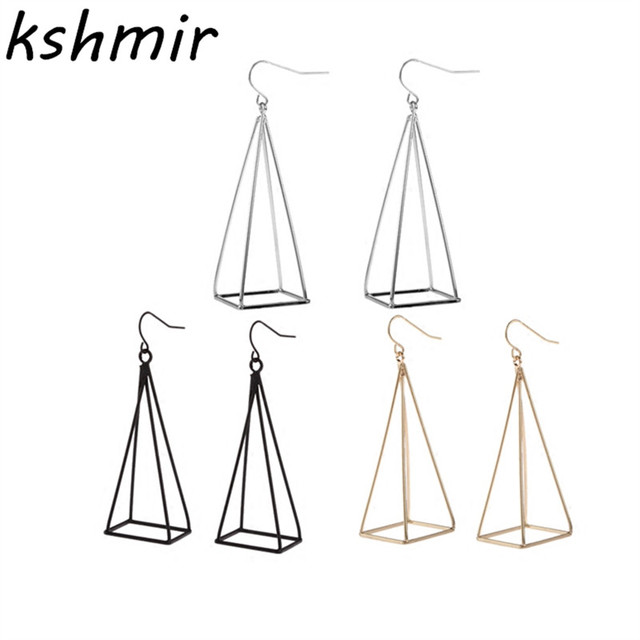 Exaggeration extremely simple about jewelry fashion geometry Pyramid black penda