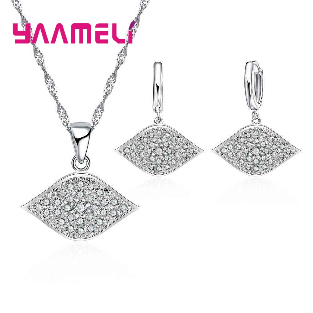 YAAMELI Brand Design Cute CZ Zircon Pendant Necklaces Earrings Sets For Women 925 Silver Wedding Crystal Jewelery Bijoux Femme
