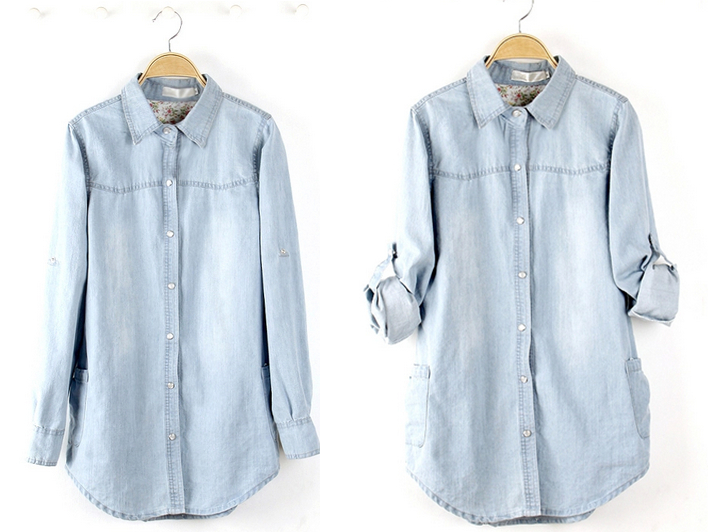 lange denim blouse